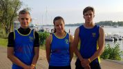 Karl, Anna und Moritz (v.l.) gingen 2019 bei den Deutschen Meisterschaften im Kanurennsport an den Start.